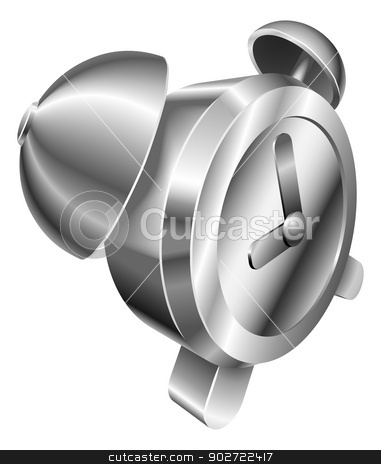 Illustration of shiny metal steel alarm clock icon stock vector clipart, Illustration of shiny metal steel alarm clock icon by Christos Georghiou