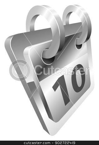Illustration of shiny metal steel desk calendar icon stock vector clipart, Illustration of shiny metal steel desk calendar icon by Christos Georghiou