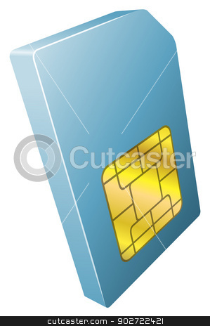 Illustration of mobile phone sim card icon stock vector clipart, Illustration of mobile phone sim card icon clipart by Christos Georghiou
