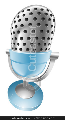 Illustration of shiny blue microphone stock vector clipart, Illustration of shiny blue microphone by Christos Georghiou