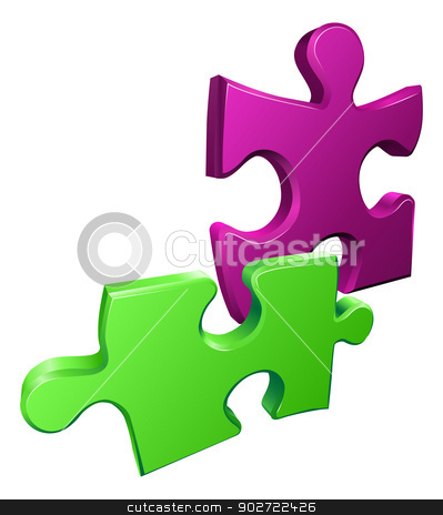Illustration of shiny jigsaw puzzle pieces icon stock vector clipart, Illustration of shiny jigsaw puzzle pieces icon by Christos Georghiou