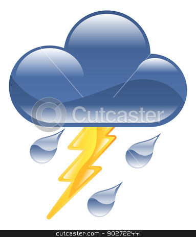 Weather icon clipart lightning thunder storm illustration stock vector clipart, Weather icon clipart lightning thunder storm illustration by Christos Georghiou