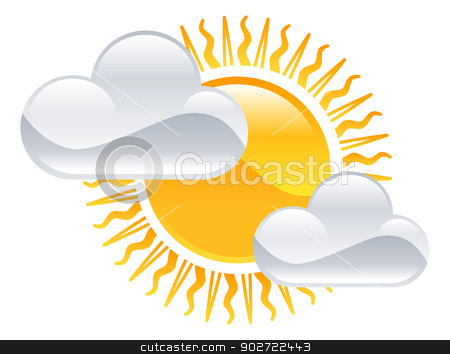 Weather icon clipart sun and clouds illustration stock vector clipart, Weather icon clipart sun and clouds illustration by Christos Georghiou