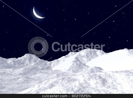 Snow mountain tops stock photo, Snow mountain tops against the night sky by Anatolii Vasilev