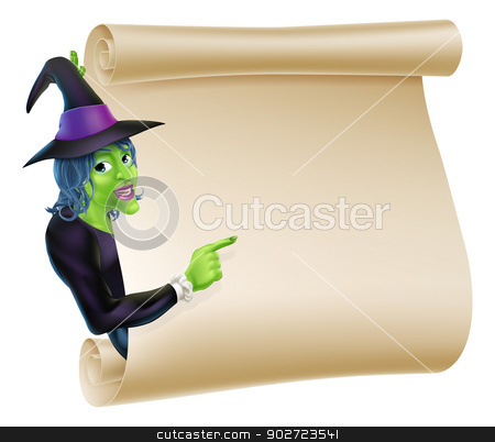 Halloween Witch Scroll stock vector clipart, An illustration of a Halloween witch character peeping round a scroll sign or banner and pointing at it by Christos Georghiou