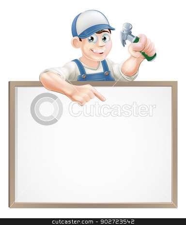 Carpenter sign stock vector clipart, A carpenter or builder holding a claw hammer and peeking over a sign and pointing by Christos Georghiou