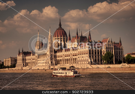 The Hungarian parliament, Budapest stock photo, Old style photo, sunset at Budapest Parliament, Hungary by Ioan Panaite