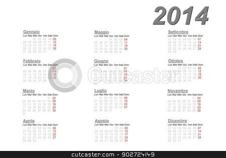 Italian calendar for 2014