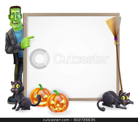 Halloween Frankenstein Sign stock vector clipart, Halloween sign or banner with orange Halloween pumpkins and black witch's cats, witch's broom stick and cartoon Frankenstein's monster character  by Christos Georghiou