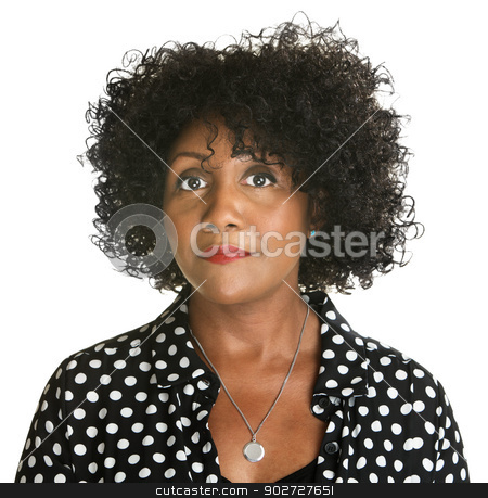 Serious Woman stock photo, Serious middle aged African female on white background by Scott Griessel