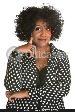 Upbeat Woman stock photo, Upbeat beautiful Black woman smiling on isolated background by Scott Griessel