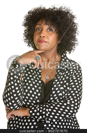 Curious Lady stock photo, Curious Hispanic woman in polka dot over white background by Scott Griessel