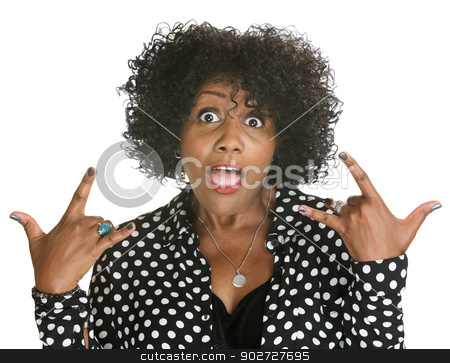 Talkative Woman stock photo, Talkative middle aged woman in polka dots by Scott Griessel