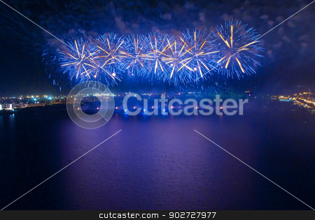 Fireworks on quay stock photo, Fireworks on quay by Alexey Kozak