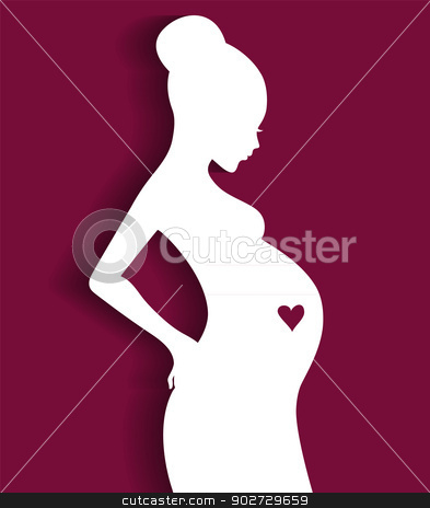 Silhouette pregnant woman stock vector clipart, Vector illustration of Silhouette pregnant woman by SonneOn