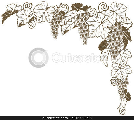 Grape vine corner ornament stock vector clipart, A grape vine border corner ornament design element of grape bunches and leaves in vintage style, wine label concept. by Christos Georghiou