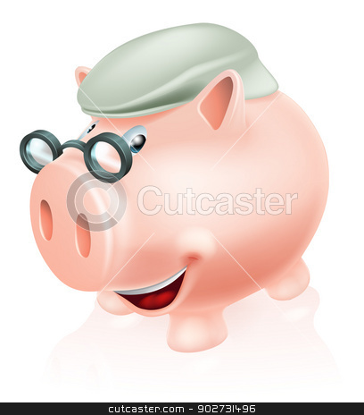 Pension plan savings concept stock vector clipart, Pension plan savings concept, a piggy bank dressed as a senior adult. Concept for saving for your future or pension. by Christos Georghiou