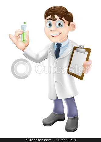 Scientist cartoon stock vector clipart, An illustration of a cartoon scientist holding a test tube and clipboard in a white lab coat performing an experiment by Christos Georghiou