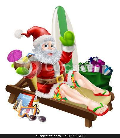 Surf Summer Santa stock vector clipart, Christmas Santa Claus relaxing on the beach or by the pool wearing Bermuda or Hawaiian board shorts and flip flop sandals and enjoying a drink surrounded with his holiday items, gifts and surf board. by Christos Georghiou