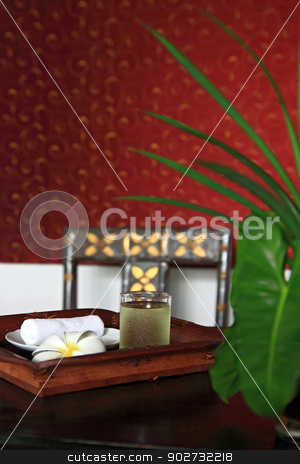 Spa Refreshment set stock photo, Refreshment set using in Spa Massage by Vichaya Kiatying-Angsulee