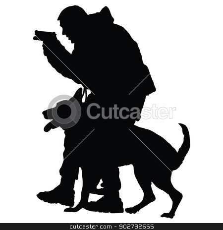 Police Dog 1 stock vector clipart, Silhouette of a police officer with a gun and his dog partner  by Maria Bell