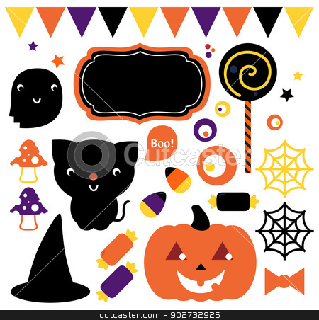 Halloween party set isolated on white stock vector clipart, Cute halloween design elements. Vector Illustration by Jana Guothova