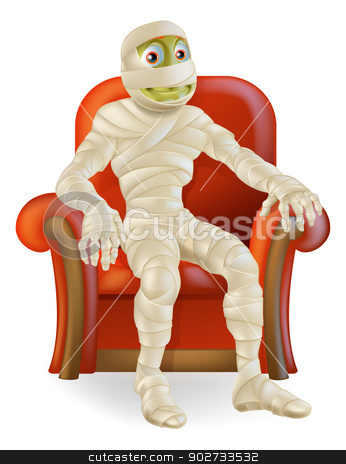 Halloween Mummy in Chair stock vector clipart, An illustration of a cartoon mummy charter sitting down in a nice arm chair ready for Halloween by Christos Georghiou
