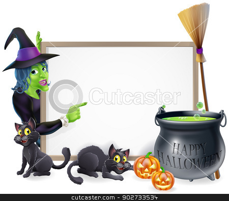Cartoon Witch Halloween Sign stock vector clipart, Halloween sign background with cartoon witch and happy Halloween cauldron by Christos Georghiou