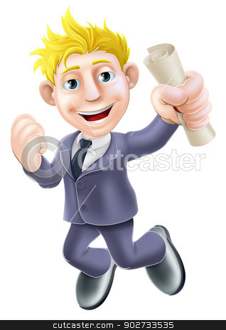 Jumping businessman and scroll stock vector clipart, Cartoon businessman with certificate, qualification or other scroll jumping for joy with fist clenched. Education concept for learning, training or passing a professional examination especially career development. by Christos Georghiou