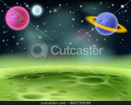Outer Space Cartoon Background stock vector clipart, An illustration of an outer space cartoon background with colorful planets by Christos Georghiou
