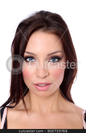 Brunette Woman stock photo, Portrait of a brunette woman with her hands up on white background by Henrik Lehnerer