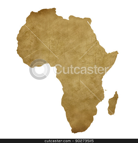 Africa grunge treasure map stock photo, Africa grunge map in treasure style isolated on white background. by Martin Crowdy