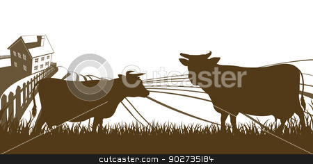 Cows and Farm Rolling Hills Landscape stock vector clipart, Farm rolling hills landscape with farmhouse and cows in silhouette by Christos Georghiou
