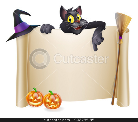 Halloween scroll with cat stock vector clipart, A Halloween scroll sign with a black cat character above the banner and pumpkins, witch's cats, hat and broomstick by Christos Georghiou