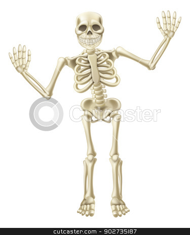 Cartoon Waving Skeleton Character stock vector clipart, Drawing of a cute cartoon waving skeleton character. Great for Halloween or similar. by Christos Georghiou