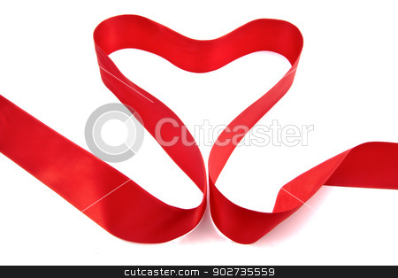 Red ribbon stock photo, Red ribbon isolated on white background by Ingvar Bjork