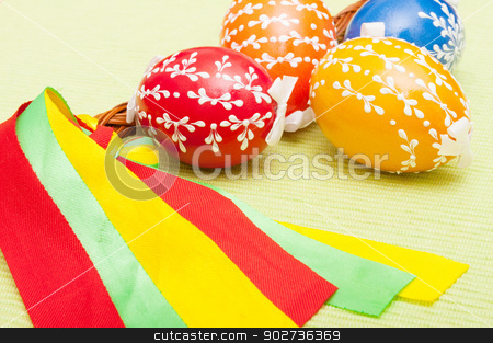 Easter Painted Eggs stock photo, Traditional Handmade Color Painted Easter Eggs  by JAMDesign