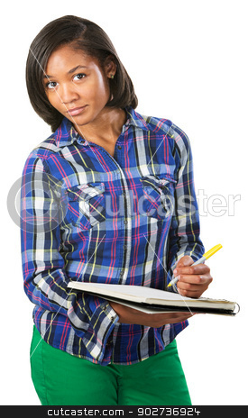 Student Taking Notes stock photo, Cute young student taking notes on white background by Scott Griessel