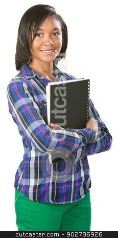 Cute Student with Notebook stock photo, Cute young female student in flannel shirt holding spiral notebook by Scott Griessel