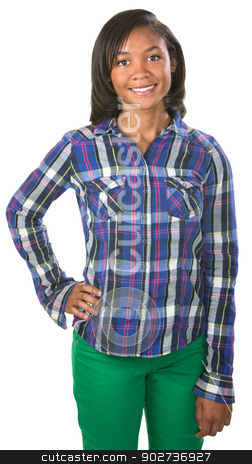 Upbeat Teenager stock photo, Confident young teenager in flannel shirt over isolated background by Scott Griessel