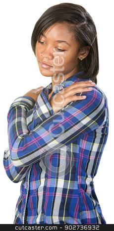 Depressed Teenager stock photo, Depressed Black teenage female looking down by Scott Griessel