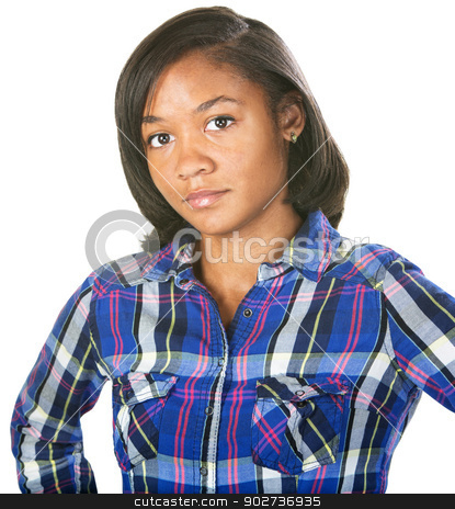 Doubting Young Woman stock photo, Doubting young woman in flannel shirt over isolated background by Scott Griessel