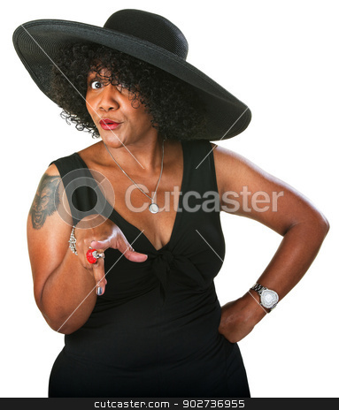 Cautious Black Woman stock photo, Doubting beautiful mature woman pointing her finger by Scott Griessel