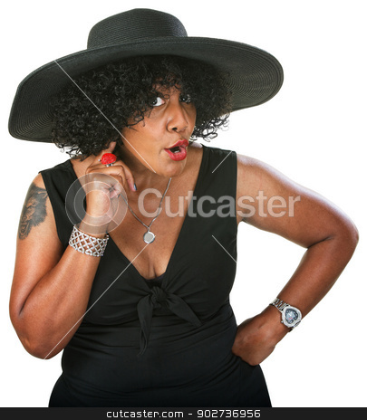 Irritated Black Woman stock photo, Irritated beautiful mature African woman holding ear by Scott Griessel