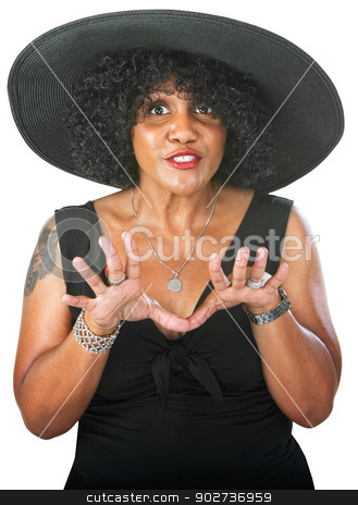 Expressive Female stock photo, Talkative adult female expressing with her hands by Scott Griessel