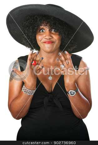 Beautiful Excited Woman stock photo, Excited adult female with rings on fingers by Scott Griessel