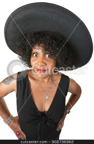 Mature Woman with Tattoo stock photo, Elegant woman with hands on hips over white background by Scott Griessel