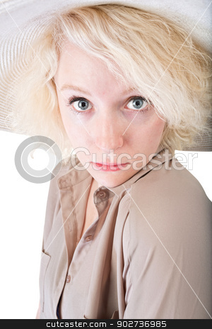 Coy Young Person stock photo, One coy blond female on white background by Scott Griessel