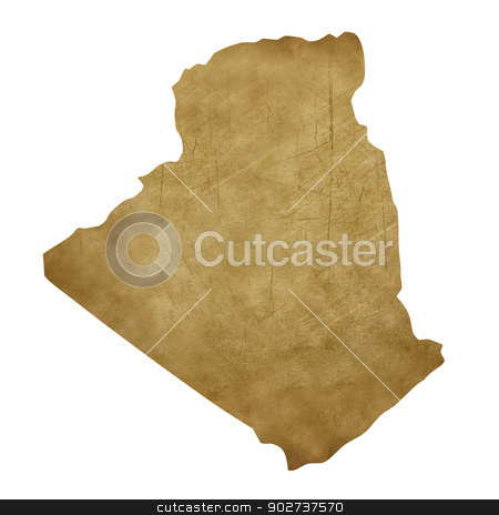 Algeria grunge treasure map stock photo, Algeria grunge map in treasure style isolated on white background. by Martin Crowdy