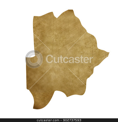 Botswana grunge treasure map stock photo, Botswana grunge map in treasure style isolated on white background. by Martin Crowdy